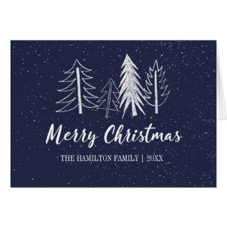 Colour Editable Snowy Chalk Trees Non-Photo Card