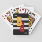 colour monogram ( initial & name) on striped playing cards
