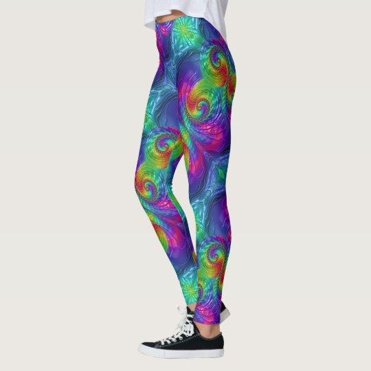 Colour-Packed Fractal Design Leggings