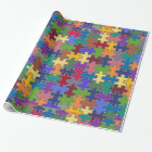 colour puzzle pieces wrapping paper