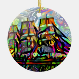 Colour ship ceramic ornament