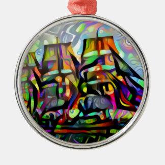 Colour ship metal ornament