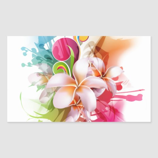 Colour Splash Plumeria Hawaiian Flower Sticker