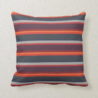 Colour Strips Sunset Bright Orange & Grey Striped Throw Pillow
