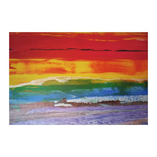 colour wave sunset canvas print