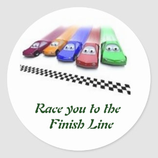 coloured cars, Race you to the  Finish Line Classic Round Sticker