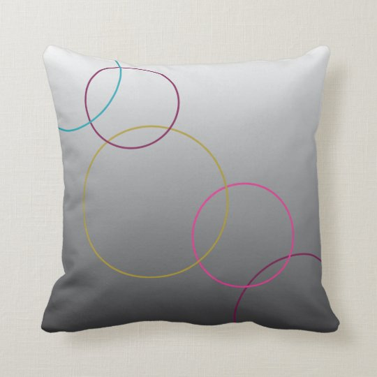 Coloured circles on ombre throw pillow
