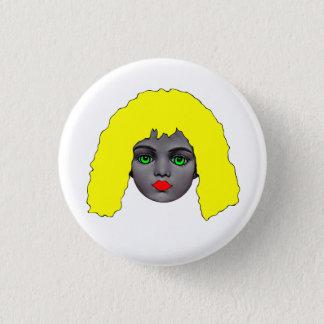 Coloured Dolls Head Badge 1 Inch Round Button