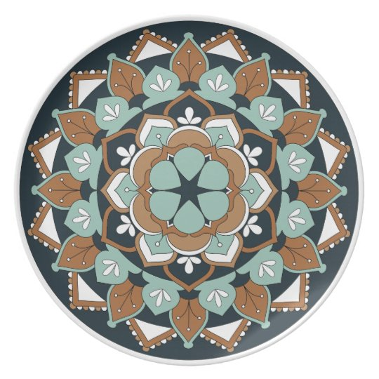 Coloured Floral Mandala  060517_1 Plate