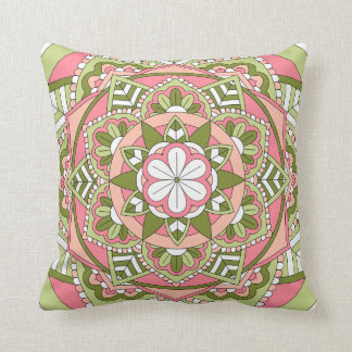 Coloured Floral Mandala 061117_1 Throw Pillow