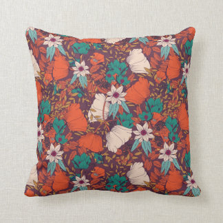 Coloured flowers pattern throw pillow
