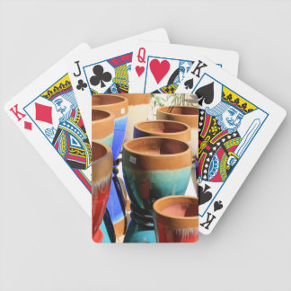 Coloured garden plant pots bicycle playing cards