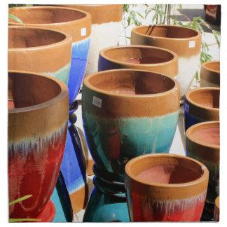 Coloured garden plant pots napkin