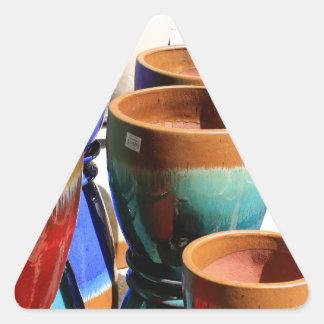 Coloured garden plant pots triangle sticker