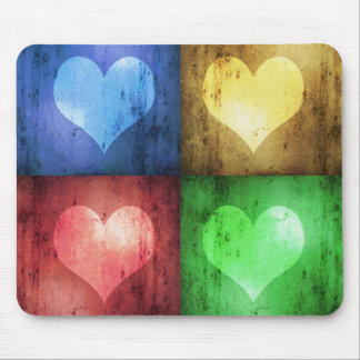 Coloured Grunge Hearts - Mousepad