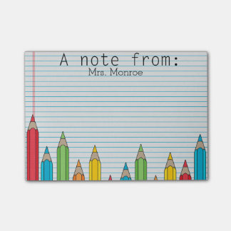 Coloured Pencil Personalized Teacher Post It Note