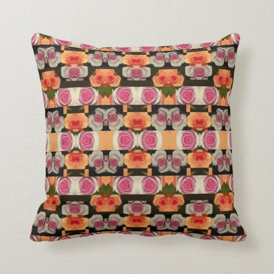 Coloured Roses Pattern Throw Pillow