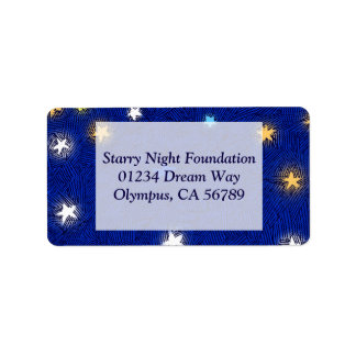 Coloured Stars Etching Custom Address Label