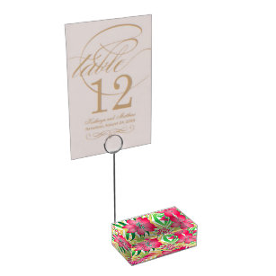 Coloured tropical flowers table card holder