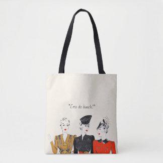 Coloured vintage art print of 3 classic ladies tote bag