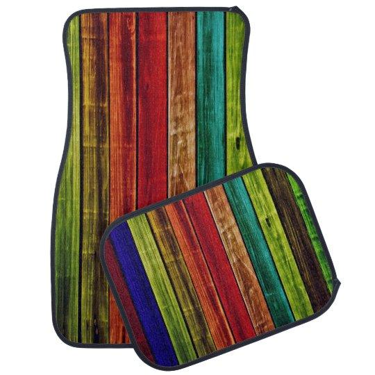 Coloured Wood Design Set of 4 Car Mats Floor Mat