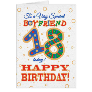 Colourful 18th Birthday for Special Boyfriend Card