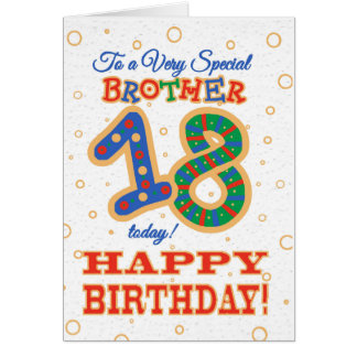 Colourful 18th Birthday for Special Brother Card