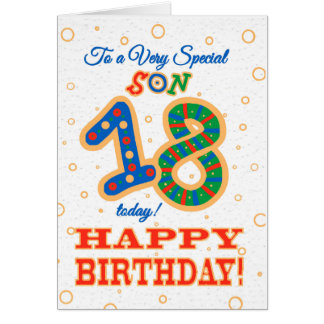 Colourful 18th Birthday for Special Son Card