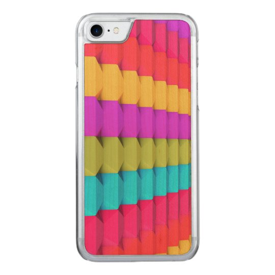 Colourful 3D Geometric iPhone 6 Wood Carved iPhone 7 Case