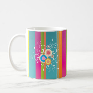 Colourful 70's stripes design coffee mug