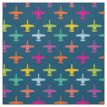 Colourful A-10 Warthog Attack Jet Pattern Candy Fabric