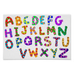 Colourful ABC Polka Dots Drawing For Kids Room Poster