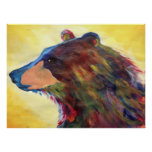 Colourful Abstract Bear Art Poster
