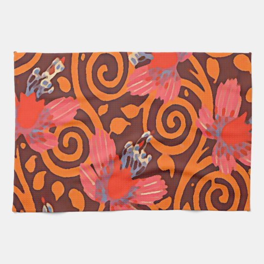 Colourful Abstract Brown Twirls Pink Butterflies Kitchen Towel