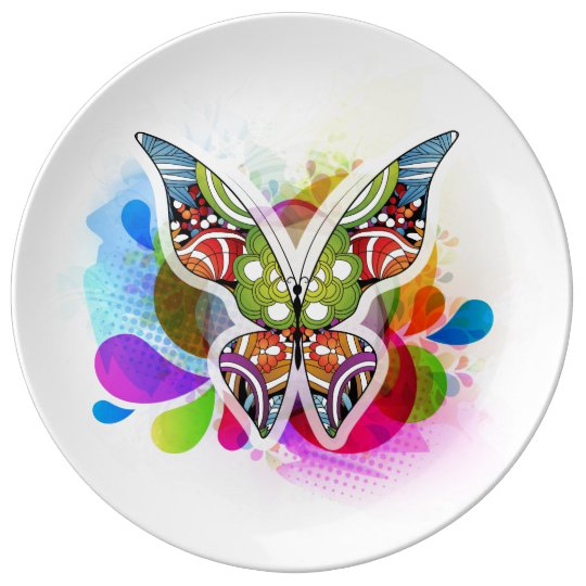 Colourful Abstract Butterfly Design Porcelain Plate
