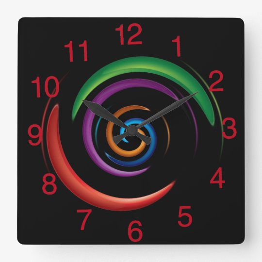 Colourful Abstract Design on Black Background Square Wall Clock