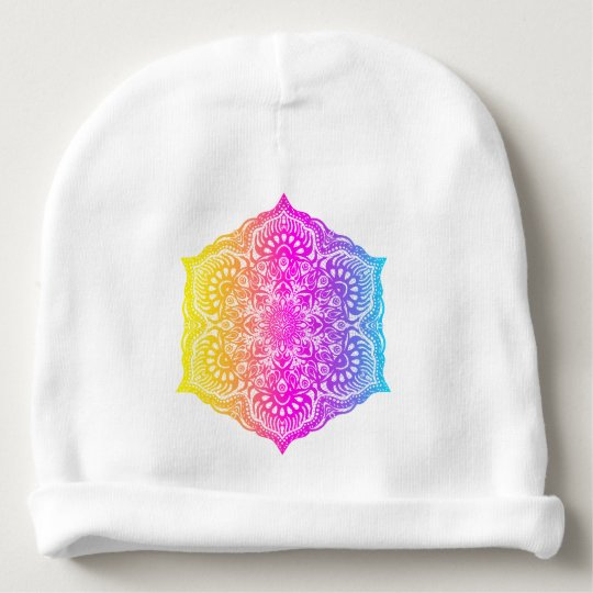 Colourful abstract ethnic floral mandala design baby beanie