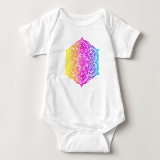 Colourful abstract ethnic floral mandala design baby bodysuit
