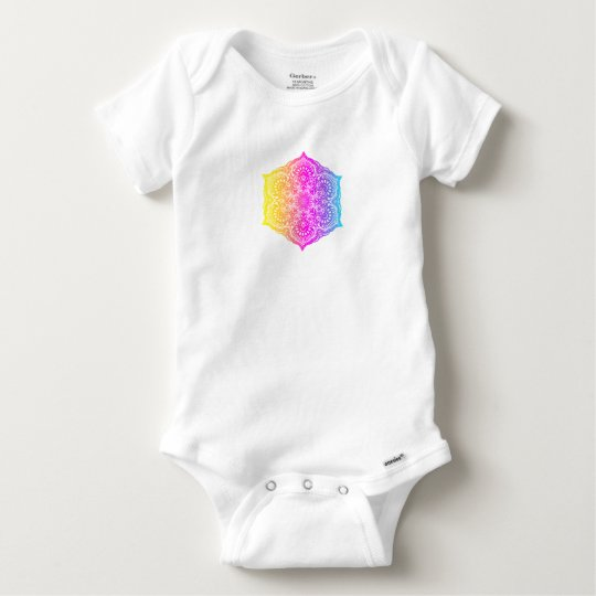 Colourful abstract ethnic floral mandala design baby onesie
