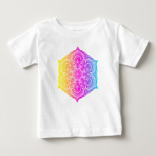 Colourful abstract ethnic floral mandala design baby T-Shirt