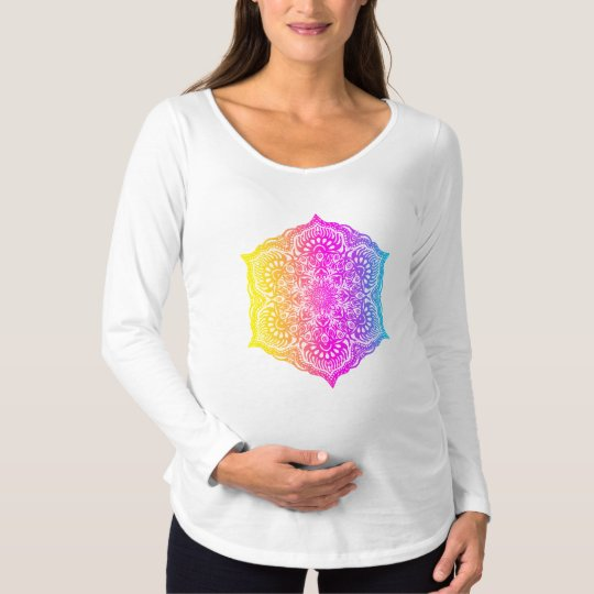 Colourful abstract ethnic floral mandala design maternity T-Shirt