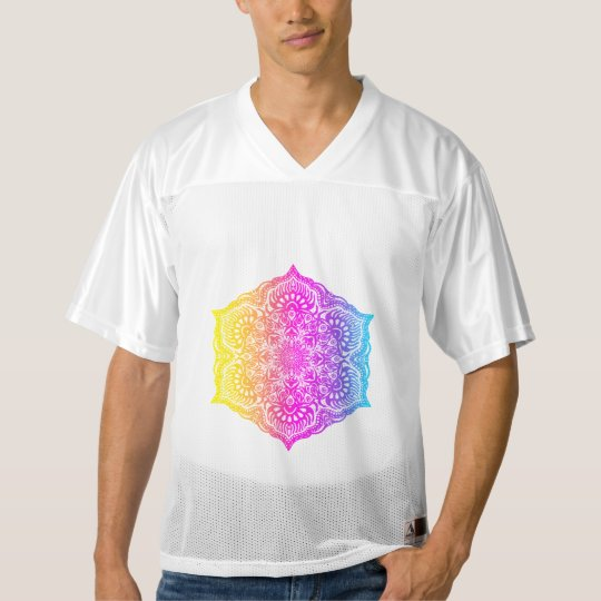 Colourful abstract ethnic floral mandala design men's football jersey