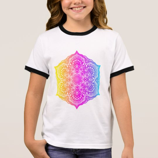 Colourful abstract ethnic floral mandala design ringer T-Shirt