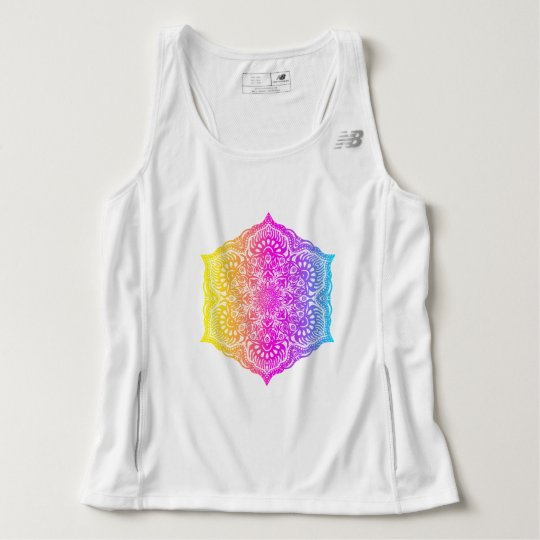 Colourful abstract ethnic floral mandala design tank top