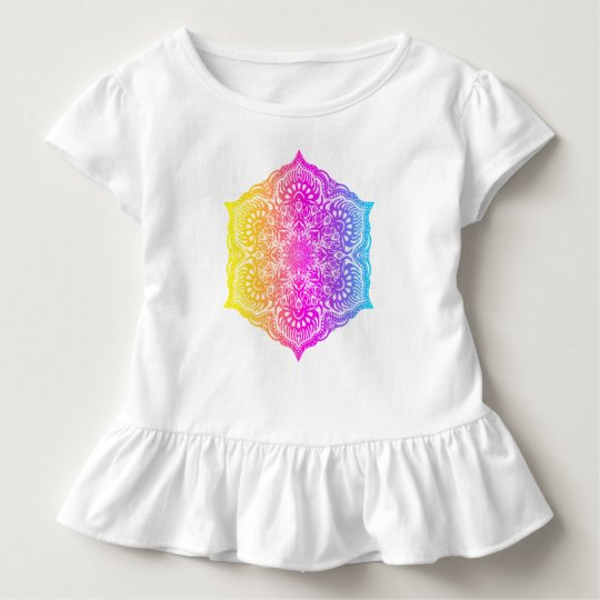 Colourful abstract ethnic floral mandala design toddler t-shirt