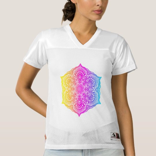 Colourful abstract ethnic floral mandala design women's football jersey
