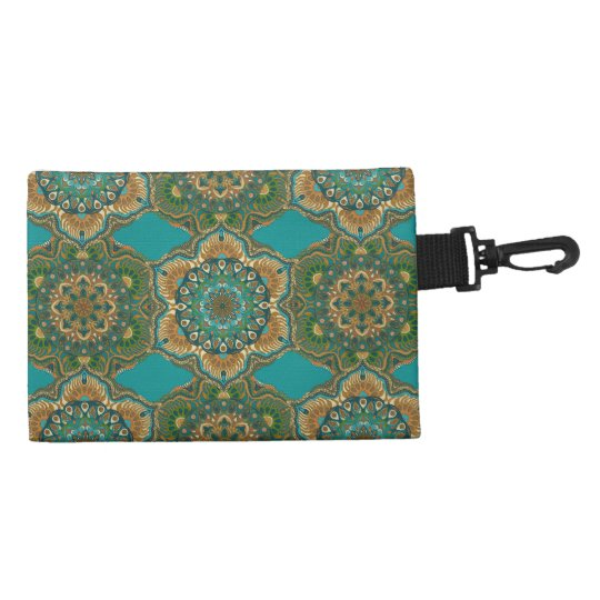 Colourful abstract ethnic floral mandala pattern accessory bag