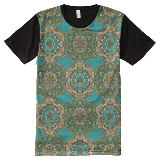 Colourful abstract ethnic floral mandala pattern All-Over-Print T-Shirt