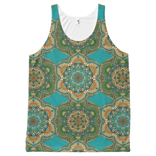 Colourful abstract ethnic floral mandala pattern All-Over-Print tank top