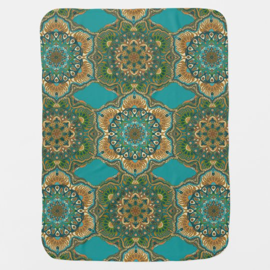 Colourful abstract ethnic floral mandala pattern baby blanket